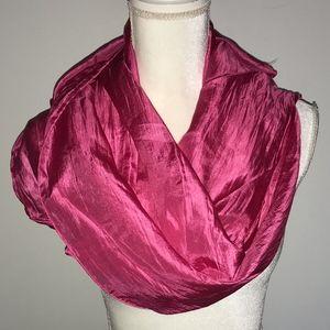 Eileen Fisher Pink Long 100% Silk Scarf Wrap Shawl